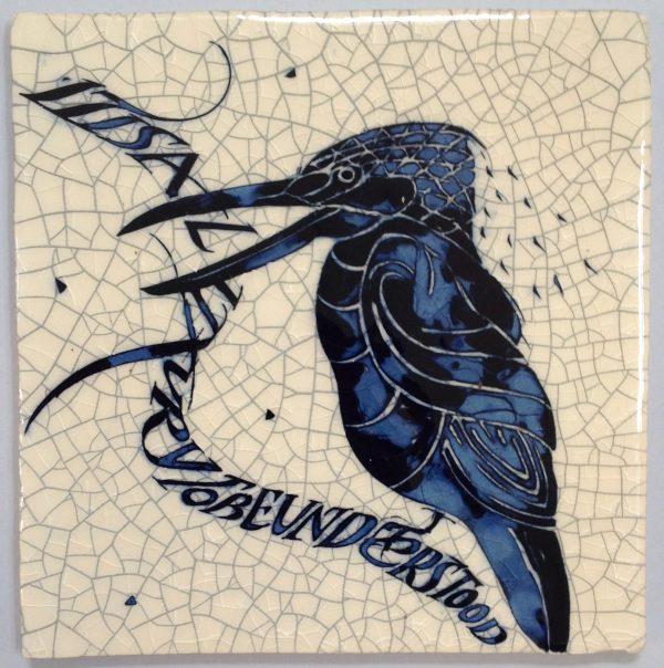 'Kingfisher'Raku Tile