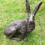Bronze Resin Startled Hare