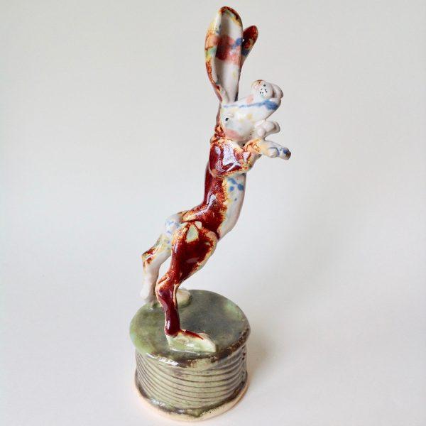'Boxing Hare' Ceramic Sculpture