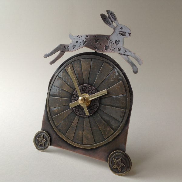 Freestanding Clock Leaping Hare