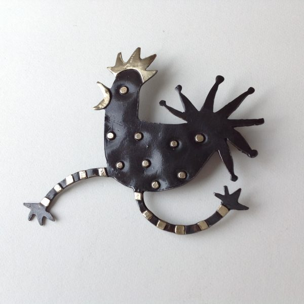 Brass & Bronze Leaping Cockerel Brooch