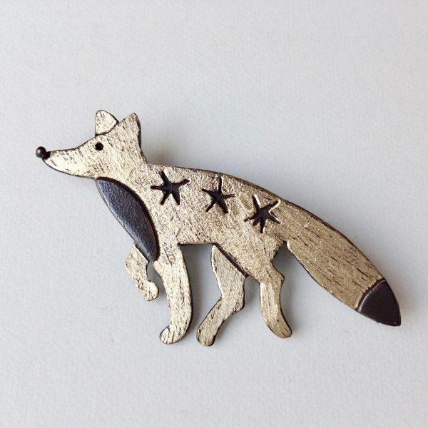 Brass & Bronze Foxey Brooch