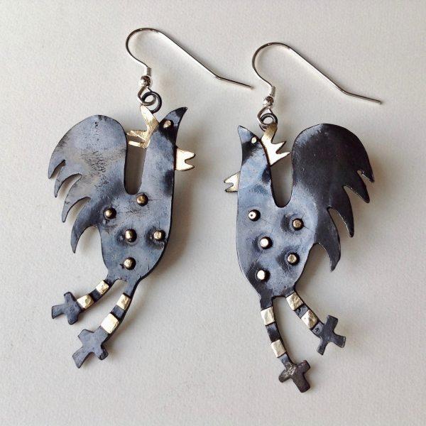 Brass & Bronze Cockerel Earrings