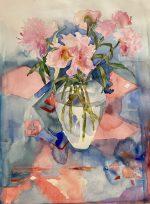Peonies Watercolour Painting