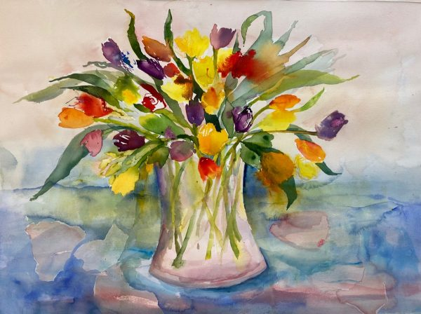 Tulips Mixed Media Painting