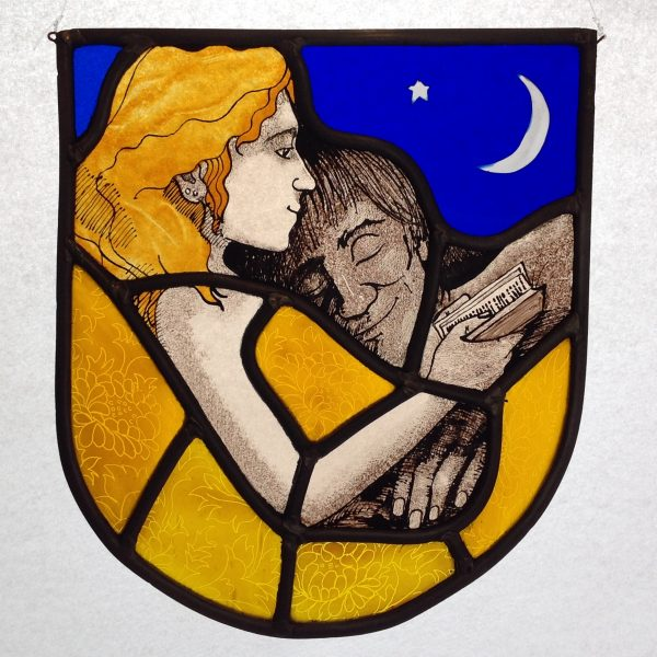 'Reading in Bed' Stained Glass