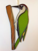 Green Woodpecker in Stained Glass