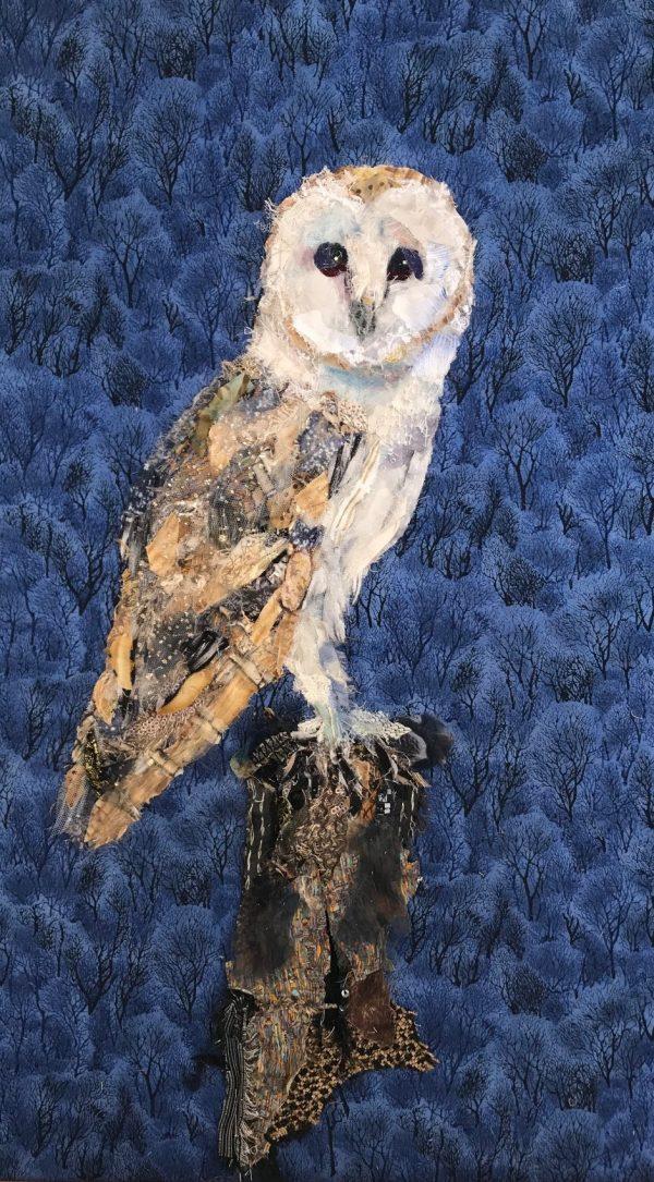 'Barn Owl' Textile Collage