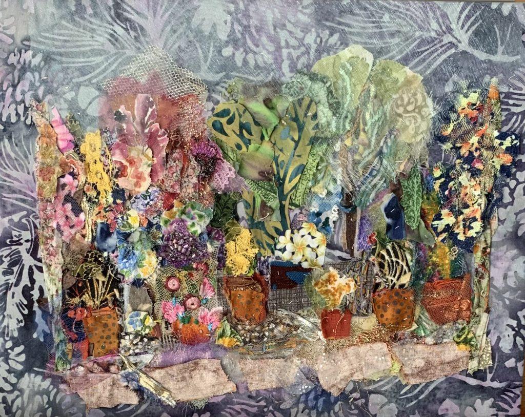 'Garden Pots' Textile Collage