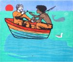 'Melville Goes Fishing' Woodcut