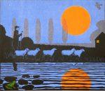 'Summer Moon' Woodcut